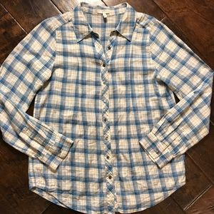 Joie Blue and Pink Plaid Button Down